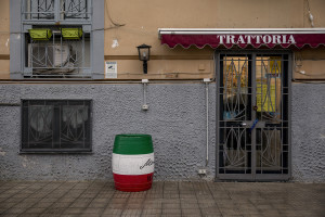 A closed tavern in seen on the fifth day of unprecedented lockdown across of all Italy imposed to slow the spread of coronavirus in Naples, Southern Italy on March 14, 2020.