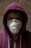 Franco, 40 years old is portrayed wearing a mask on the eighth day of unprecedented lockdown across of all Italy imposed to slow the spread of coronavirus in Naples, Southern Italy on March 17, 2020.