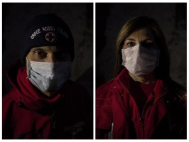 LEFT: Alessio, 45 years old and volunteer of the Italian Red Cross for about 6 years is portrayed during the coronavirus emergency in Naples, Italy on April 2, 2020. RIGHT: Emilia, 50 years old and volunteer of the Italian Red Cross for about 2 years is portrayed during the coronavirus emergency in Naples, Italy on April 2, 2020.