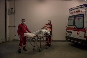 Marilisa, suspected covid-19 positive is transferred to the hospital after an emergency call to the Italian Red Cross in Nembro, province of Bergamo, Northern Italy on April 12, 2020.