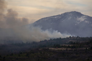 A fire, probably generated by the burning of outdoor waste is seen in Skopje, North Macedonia on March 2, 2020.