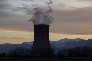 """One of the cooling towers of the """"Rek-Bitola"""" coal power plant in Bitola, North Macedonia on March 1, 2020. """"Rek-Bitola"""" is one of the factories where sources of radioactive or carcinogenic materials have been identified by experts. The """"Rek-Bitola"""" factory, as well as other highly polluting sites, do not comply with current regulations and continue to throw processing waste in the nature, while continuing to ensure that they will comply with the regulations as soon as possible."""