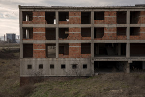 A building under construction in the center of Skopje, North Macedonia on March 2, 2020. It very often happens that during the buildings construction or renovation works there are not adequate coverings to prevent the fine powders of the building materials from being dispersed into the environment, contributing, even if only minimally, to air pollution.