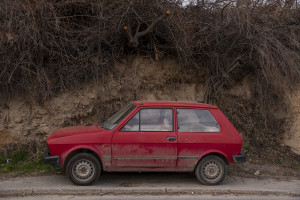 An old car is seen in a street of Skopje, North Macedonia, on March 2, 2020. The VMRO-DPMNE government, in a populist frenzy, had allowed the import of old cars with obsolete ecological standards from the EU. As a result, in less than five years, the number of registered vehicles has gone from 350 thousand to 475 thousand of which most diesel powered, therefore with a higher emission of particles than petrol.