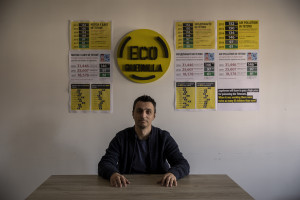 """Arianit Xhaferi, founder of """"Eco Guerilla"""" is portrayed inside his office in Tetovo, North Macedonia on March 2, 2020. """"Eco Guerilla"""" is an environmental movement born in November 2013 that mainly deals with air pollution."""