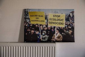 """A picture by Fisnik Islami showing an environmental protest in Macedonia is seen inside """"Eco Guerilla"""" headquarter in Tetovo, North Macedonia on March 2, 2020. """"Eco Guerilla"""" is an environmental movement born in November 2013 that mainly deals with air pollution."""
