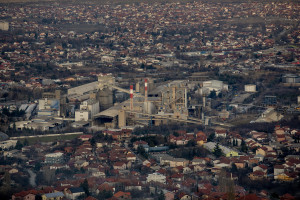 """A general view of the """"Usje"""" cement factory in Skopje, North Macedonia on February 29, 2020. According to green activists """"Usje"""" cement factory uses waste as fuel during its production cycle. One of the main causes of air pollution in Skopje are the industries, in general older than in the rest of Europe. As reported on the website republika.mk the company confirmed that it is using petroleum coke and former employees have recently claimed that it was also burning old car tires brought in from Greece. The area around """"Usje"""" cement factory has some of the worst levels of air pollution in Skopje."""