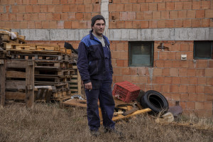 Trajan, 26 years old and former OHIS employee is portrayed in Skopje, North Macedonia on March 4, 2020. The OHIS plant is included in the list of North Macedonia's 16 most critical environmental hotspots, as compiled by Trajce Stafilov from the Institute of Chemistry in Skopje. At one time, OHIS, which was owned by the state, managed five large factories, manufacturing inseticides,  pesticides, cleaning products and cosmetics that were sold all over the Balkans. A few years ago, the company went bankrupt. Its plants are now abandoned, but the surplus chemicals and untreated waste left behind present significant problems for the local authorities. For example, there are two landfill sites that contain thousands of tonnes of soil contaminated with large amounts of the insecticide lindane.