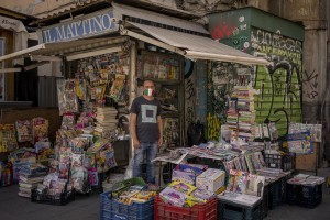 Vincenzo 39 years old, is portrayed outside his newsstand in Dante square in Naples, Italy on June 15, 2020. That of newsagents is one of the few categories that has not been affected by the economic crisis generated during the coronavirus in Italy, because even during the locdown it was allowed to remain open.