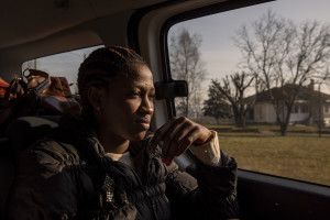 A portrait of Marian, 19 years old from Sierra Leone in Asti, Northern Italy on January 9, 2020. Marian left her country as she had a series of problems with her family. Before arriving in Italy in 2017 with a boat, she passed through Libya where she was in a prison for months, as well as suffering continuous physical and sexual violence. Now she is hosted by the Piam non-profit organization and she is happy with her new life and expects to be able to find a job.