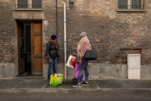 Fatima, 39 years old from Ghana and one of the managers of the Piam non-profit organization speaks with Mirabel, 23 years old from Nigeria, former victim of human trafficking in Asti, Northern Italy on January 10, 2020. Mirabel has lived in Italy for three years and has been a guest for two months at one of the Piam onlus structures.