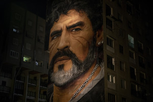 A mural of the Argentine soccer legend Diego Armando Maradona is seen after the announcement of his death in San Giovanni a Teduccio, near Naples, Italy on November 25, 2020.
