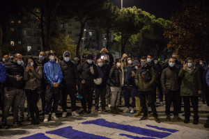 "People gather outside ""San Paolo"" stadium after the death of the Argentine soccer legend Diego Armando Maradona in Naples, Italy on November 25, 2020."