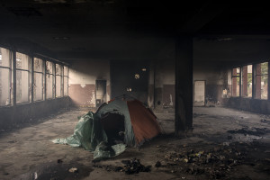 A tent is seen inside an abandoned factory in Bihac, Bosnia and Herzegovina on January 22, 2021. Lots of migrants avoid staying inside the Bosnian official refugee camps because of the hard conditions in which they are forced to live and also because the people hosted in the official camps  cannot go out freely.