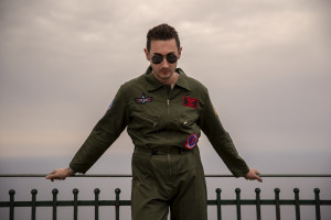 """A portrait of the porn actor Matteo Linux during the film shooting of """"Top gun"""" porn parody realized by Napolsex production in Ischia island, Southern Italy on July 26, 2021."""