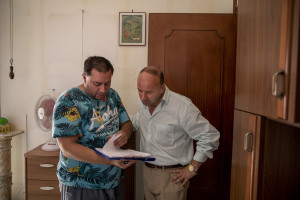 """Director Axel Ramirez (left) and Napolsex producer Max Biondi (right) are seen during the film shooting of """"Top gun"""" porn parody realized by Napolsex production in Ischia island, Southern Italy on July 25, 2021."""